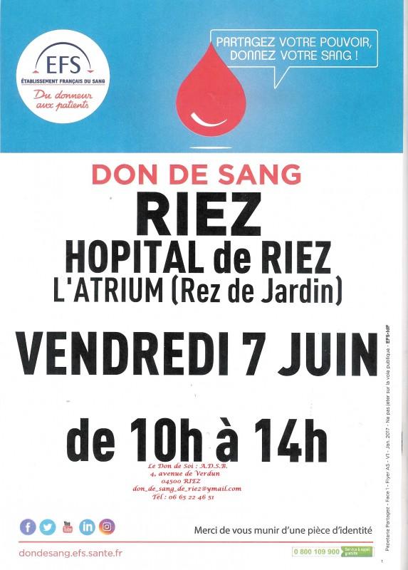 Affiche collecte de sang